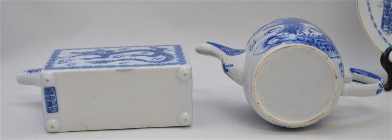 6 pc BLUE & WHITE TEAPOTS / PLATES - 6