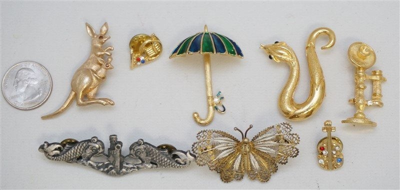8 pc FIGURAL COSTUME BROOCHES 800 SILVER + - 6