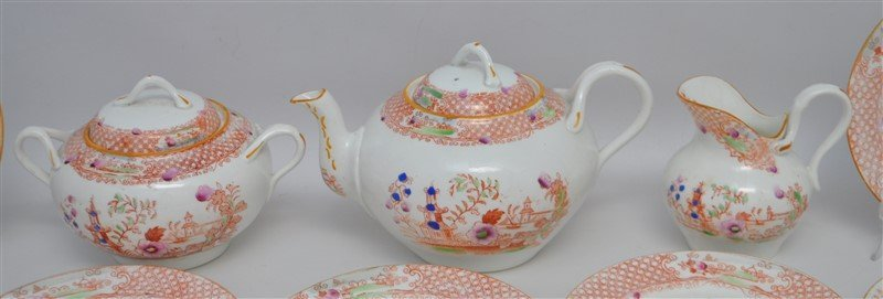 ANTIQUE 18 PC CHINOISERIE TEA SET - 2