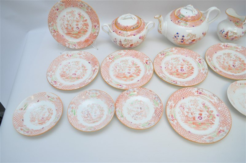 ANTIQUE 18 PC CHINOISERIE TEA SET - 4