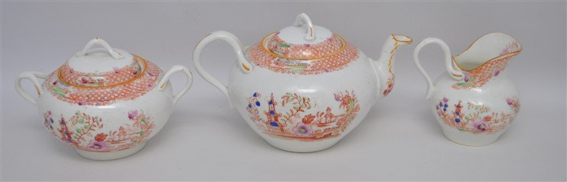 ANTIQUE 18 PC CHINOISERIE TEA SET - 8