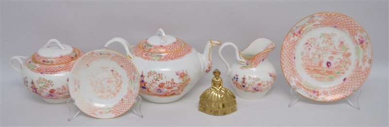 ANTIQUE 18 PC CHINOISERIE TEA SET - 9