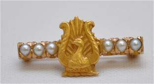VICTORIAN 10K GOLD PEACOCK PEARL BAR PIN