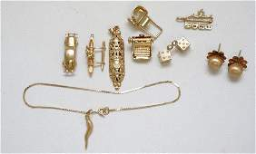 11 pc 14k GOLD CHARMS  EARRINGS  BRACELET 1830