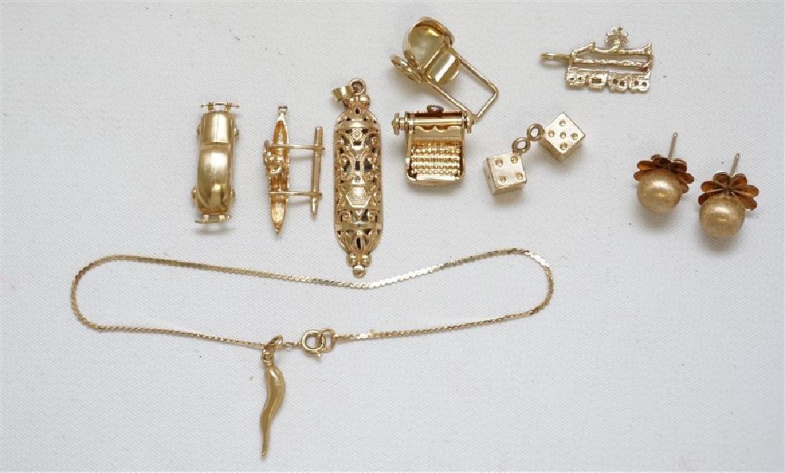 11 pc 14k GOLD CHARMS - EARRINGS - BRACELET 18.30