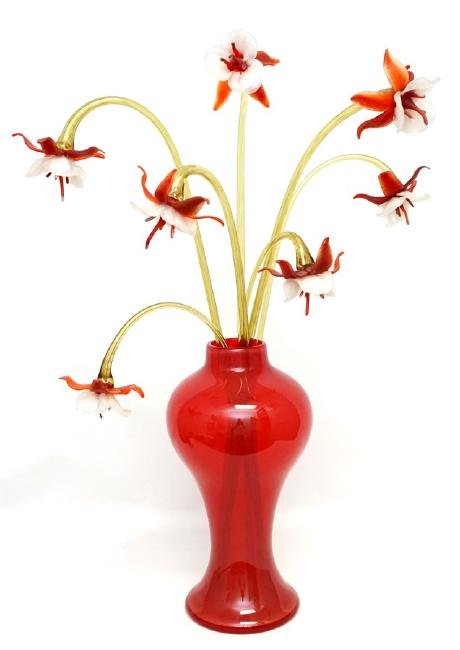DEBORA MOORE GLASS ORCHID SCULPTURE