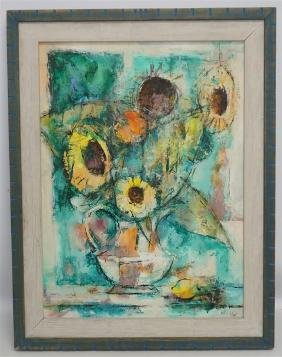 WILLIAM MELTON HALSEY OIL 1962 SUNFLOWERS