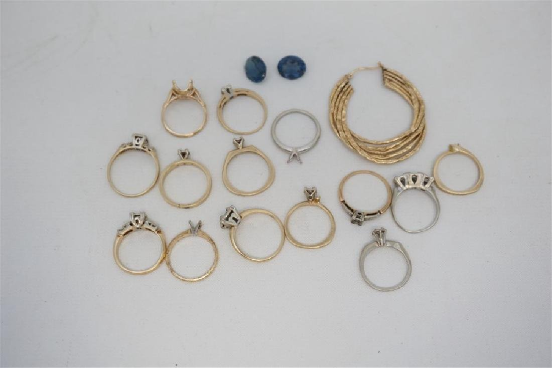17 pc 14k GOLD RING SETTINGS - STONES & 1 EARRING