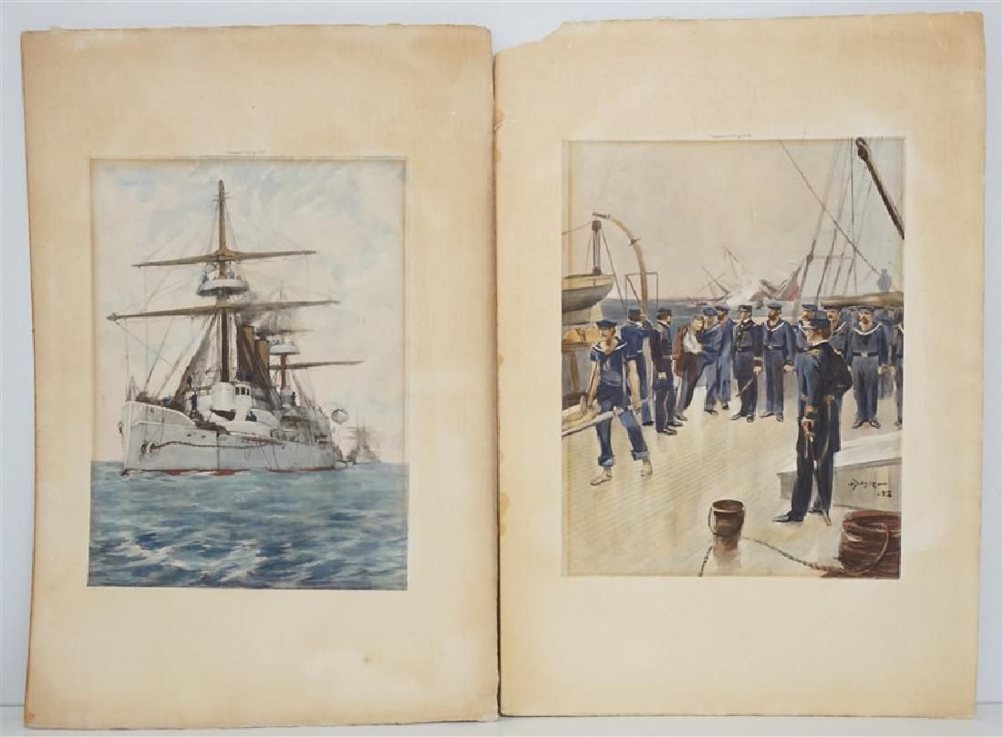 2 HAND COLORED AMERICAN NAVAL COLLOTYPES 1894