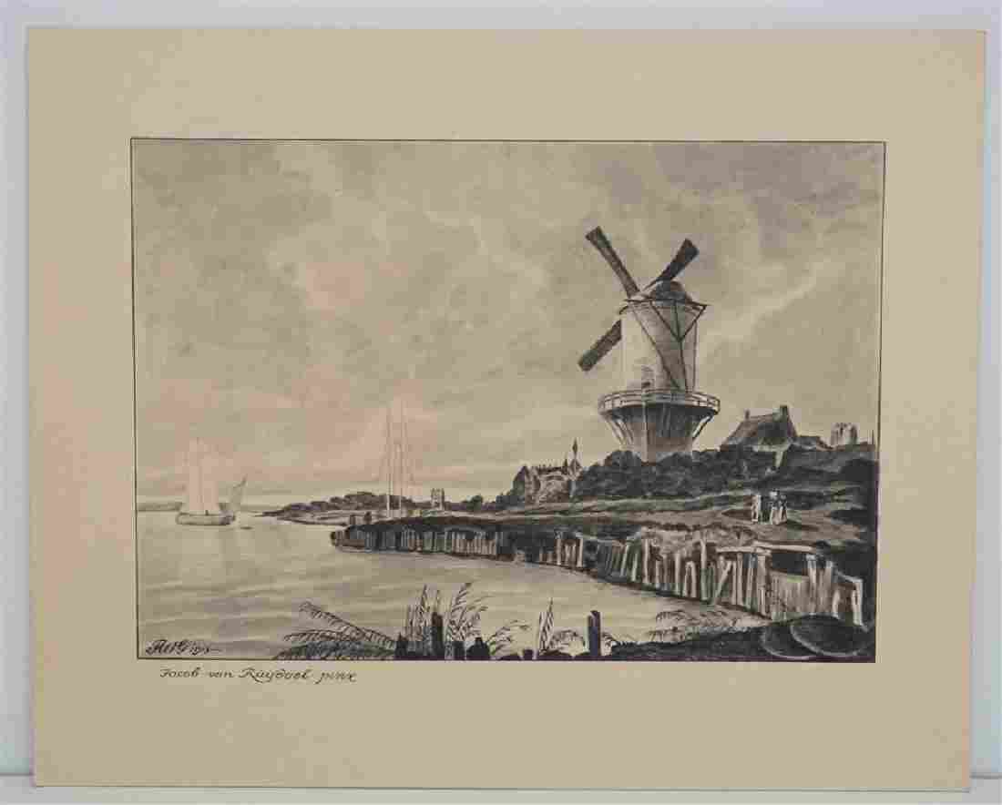 ORIGINAL 1913 PEN & INK WATERCOLOR AFTER VAN RUISDAEL
