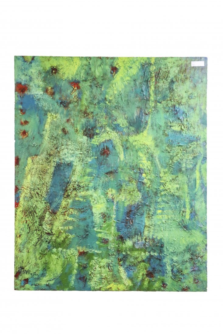 Green Acrylic Painting on Canvas Artist Signed: Mark