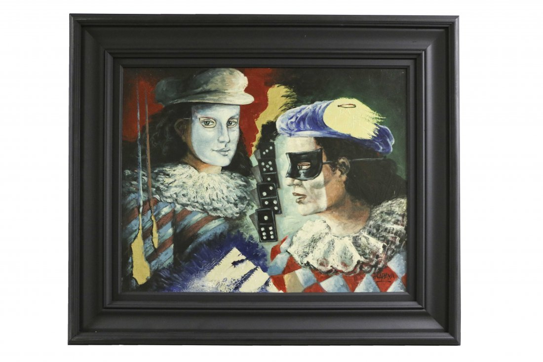 2 Masked Men Painting Signed by artist