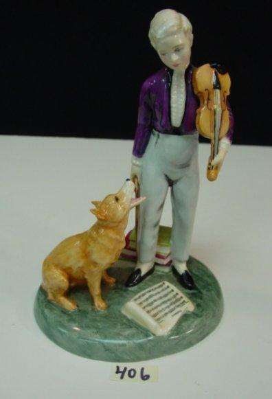 406: Royal Doulton Figure Dog Violin Porcelain