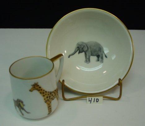 410: HP Porcelain Child Dish Set Animals