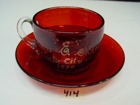 414: 1899 Ruby Flash Atlantic City Cup & Saucer