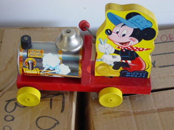 531: Vintage Fisher Price Disney Mickey Mouse Train Pul