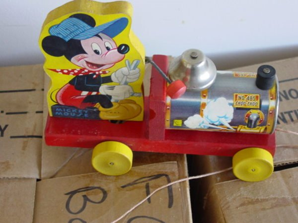 531: Vintage Fisher Price Disney Mickey Mouse Train Pul - 2