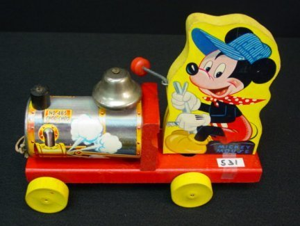 531: Vintage Fisher Price Disney Mickey Mouse Train Pul - 4