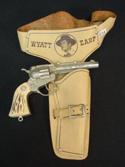 532: Vintage Wyatt Earp Toy Cap Pistol w/ Holster