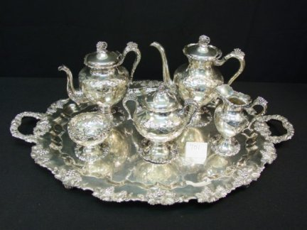 701: Vintage Silver Chased Teapot Set
