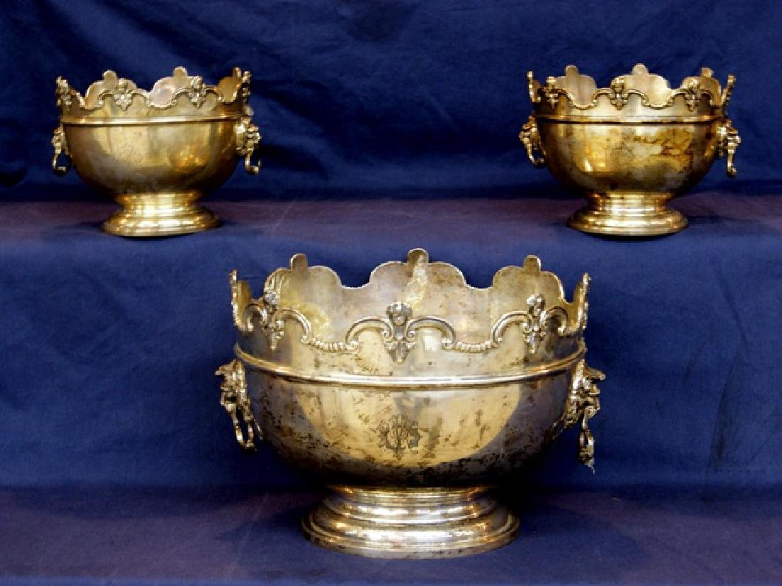 English Sterling George V Three Piece Monteith Bowl Set
