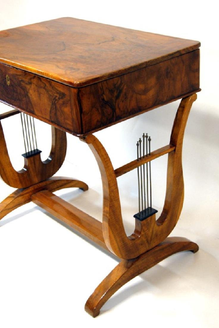 Biedermeier Lyre-Base Hinged Top Sewing Table - 3
