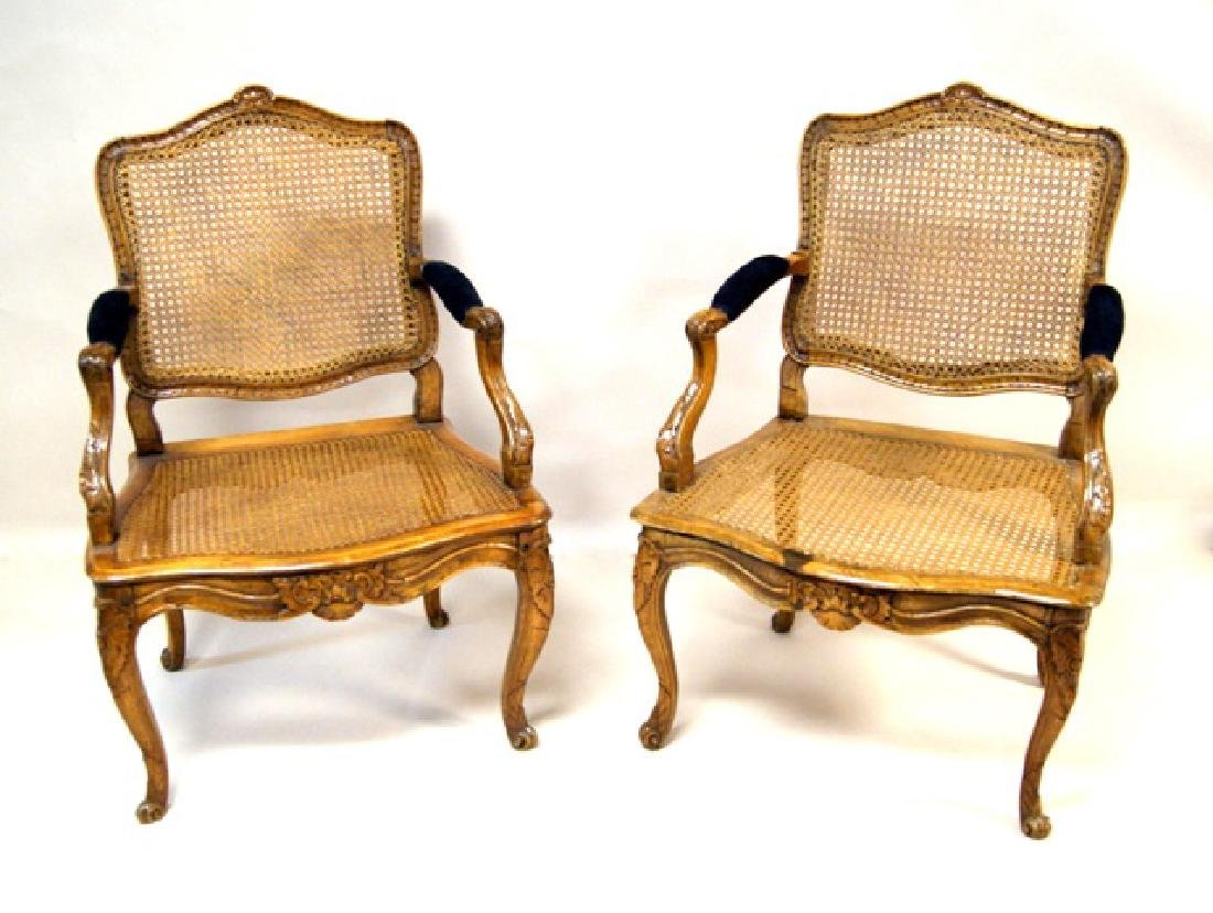 Pair French Antique Mahogany Armchairs