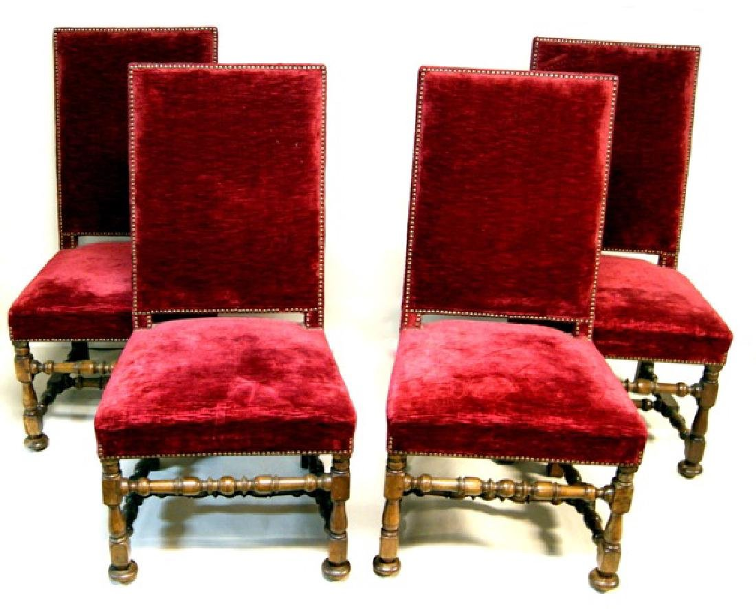 Set Four Red Upholstered Side Chairs