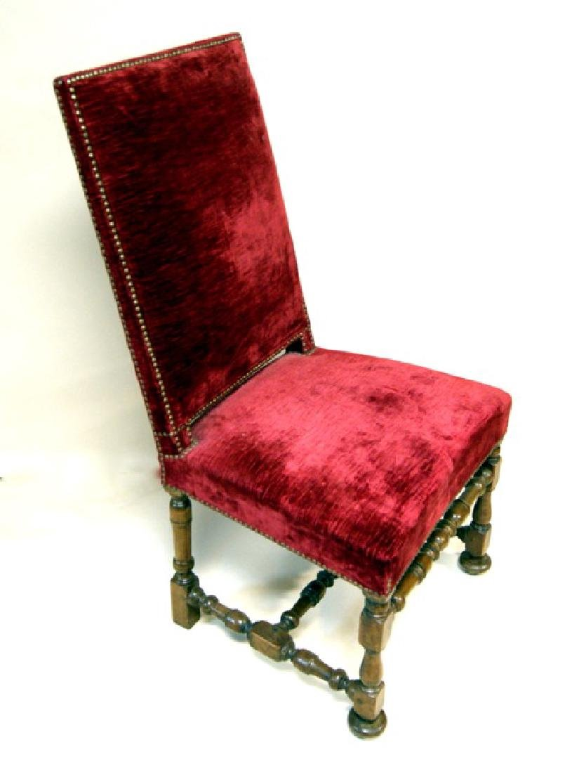 Set Four Red Upholstered Side Chairs - 4