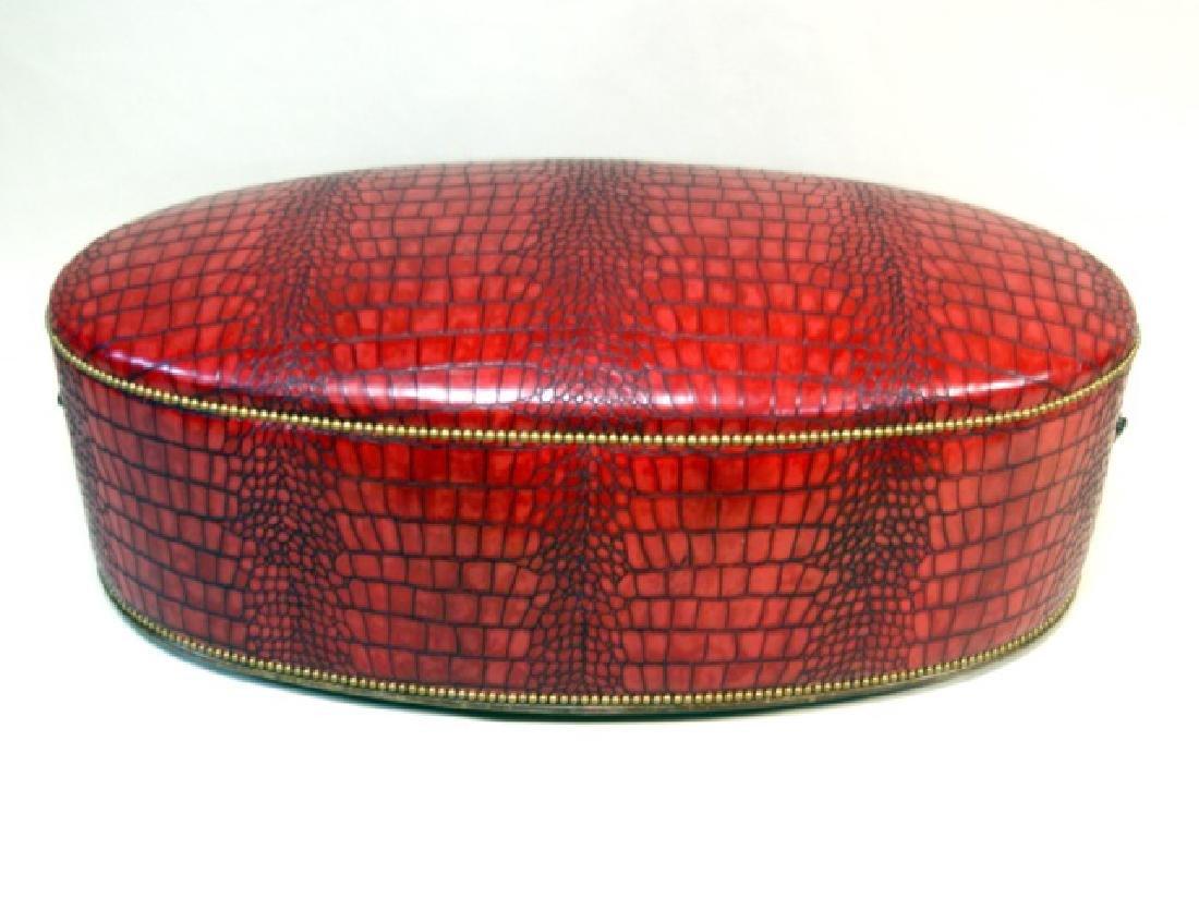 Faux Crocodile Skin Oval Ottoman