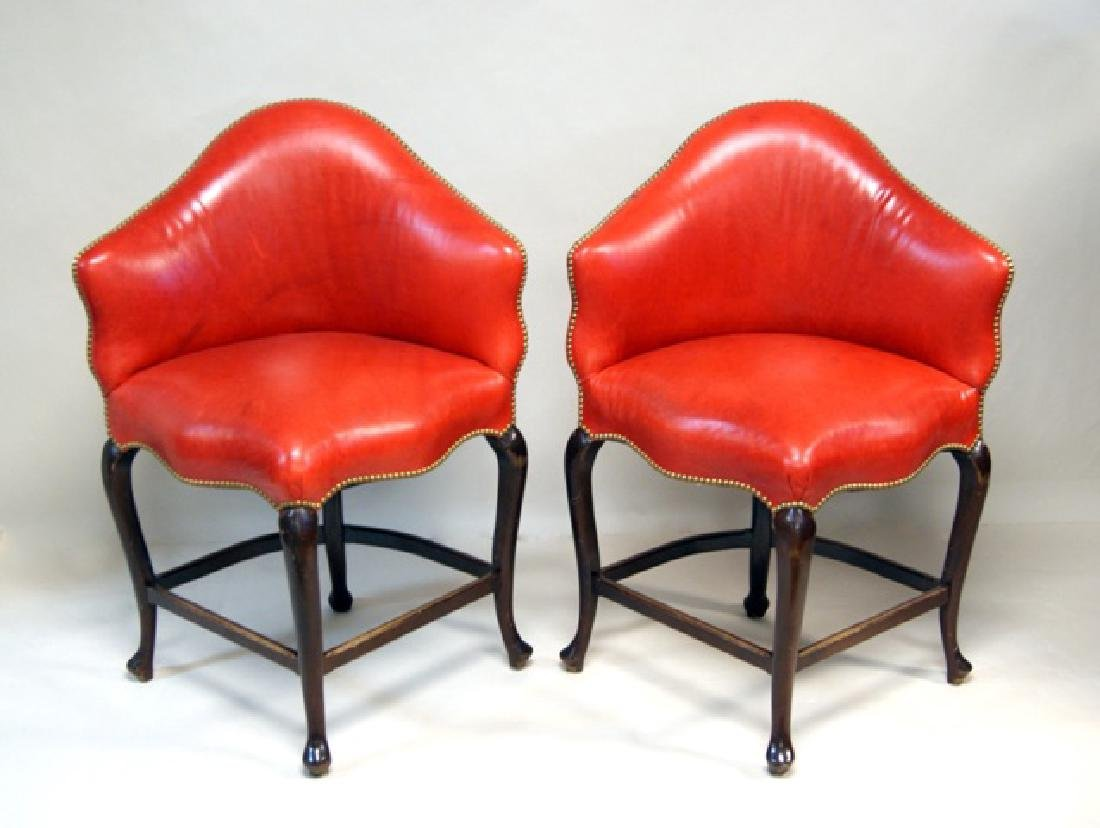 Pair Red Leather High Corner Chairs