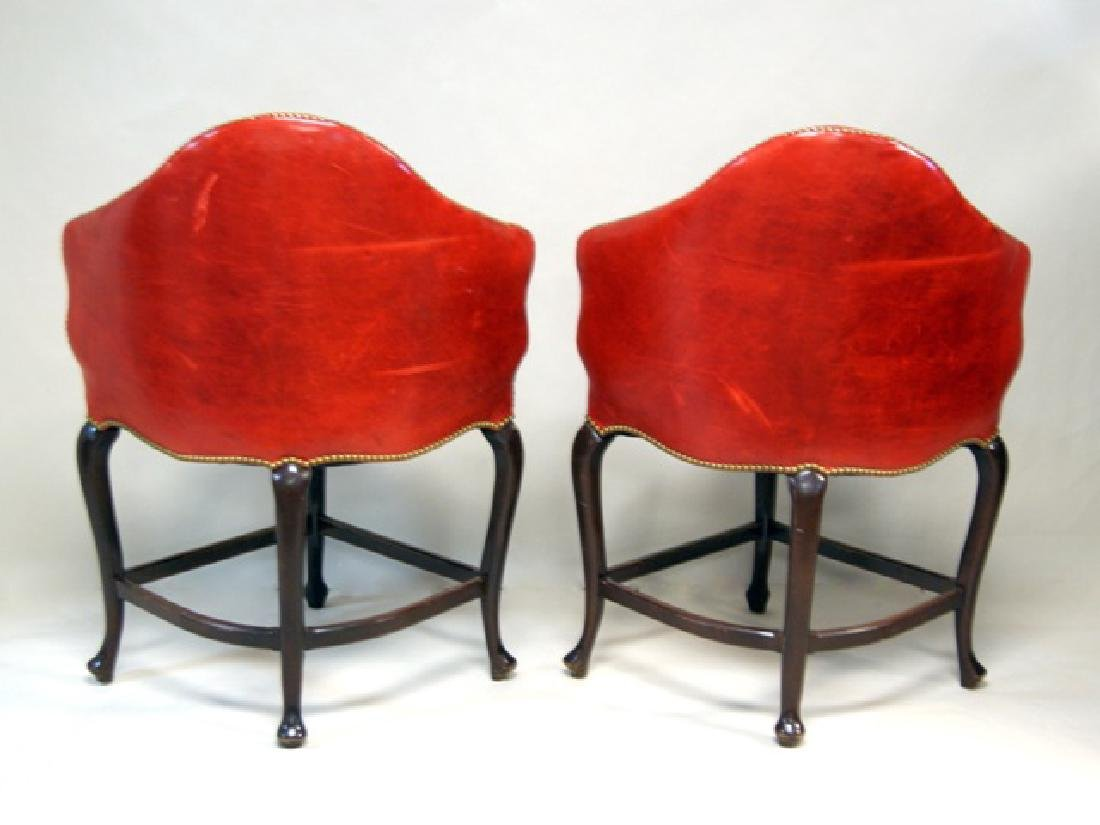Pair Red Leather High Corner Chairs - 2