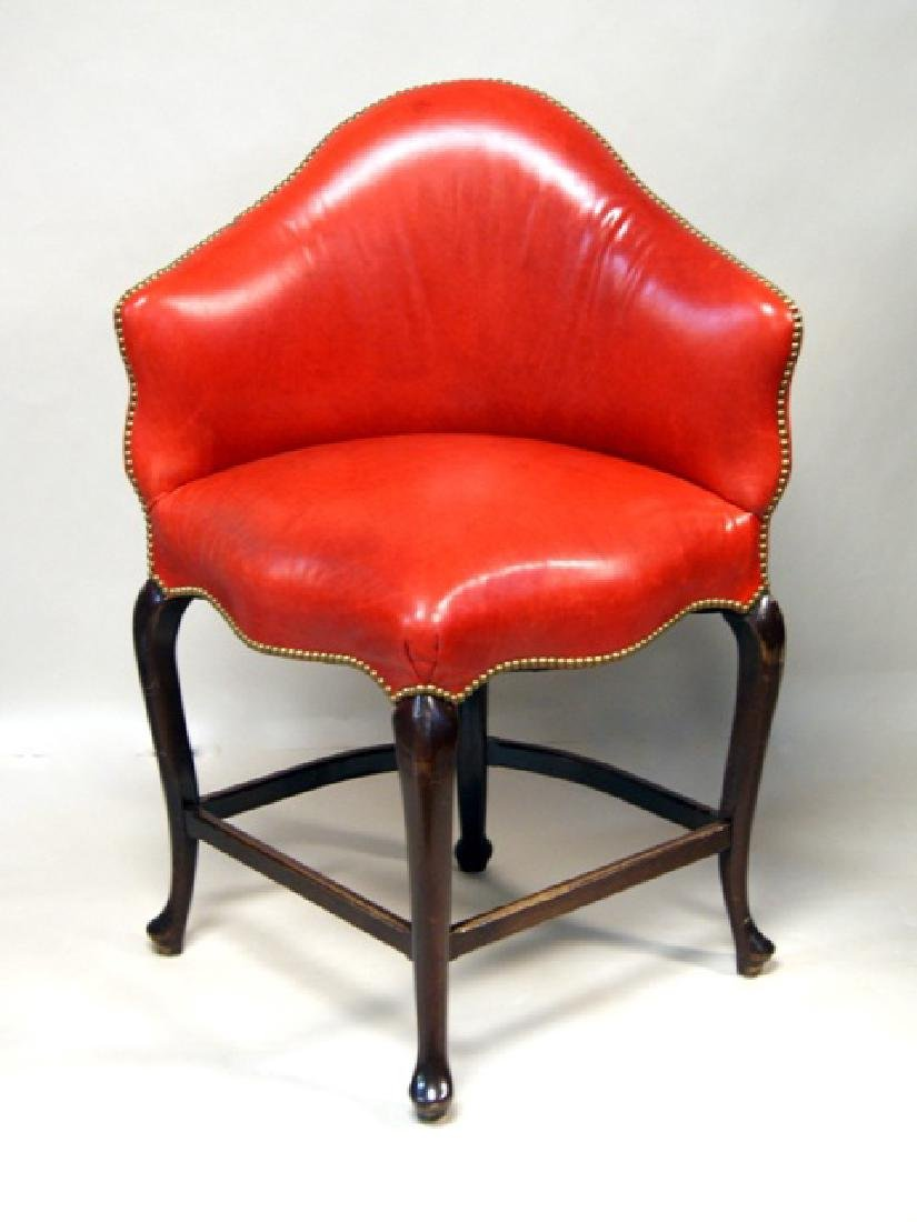 Pair Red Leather High Corner Chairs - 3