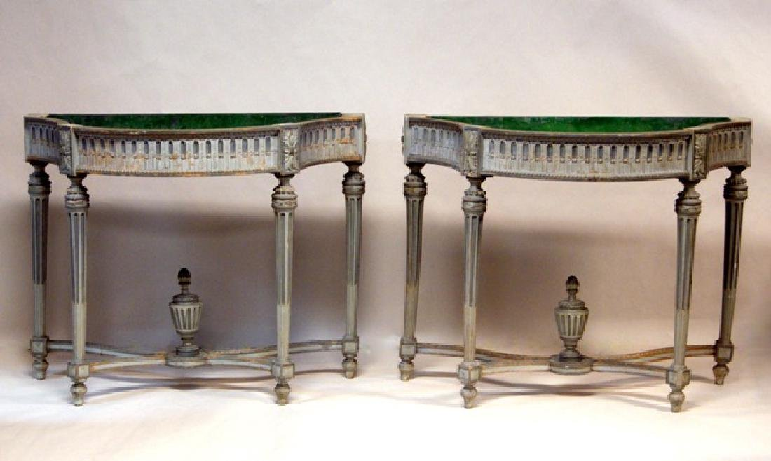 Pair of French Wood Pier Planters - 2