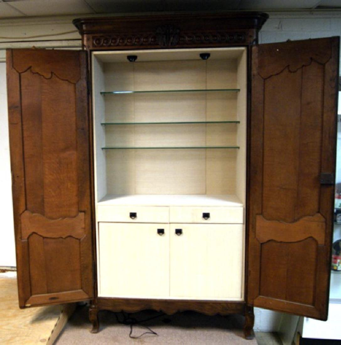 Large French Oak Armoire with Modernized Bar Interior - 2