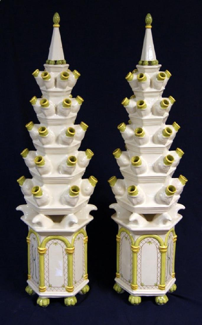 Pair Tall Ceramic Dried Flower Stands