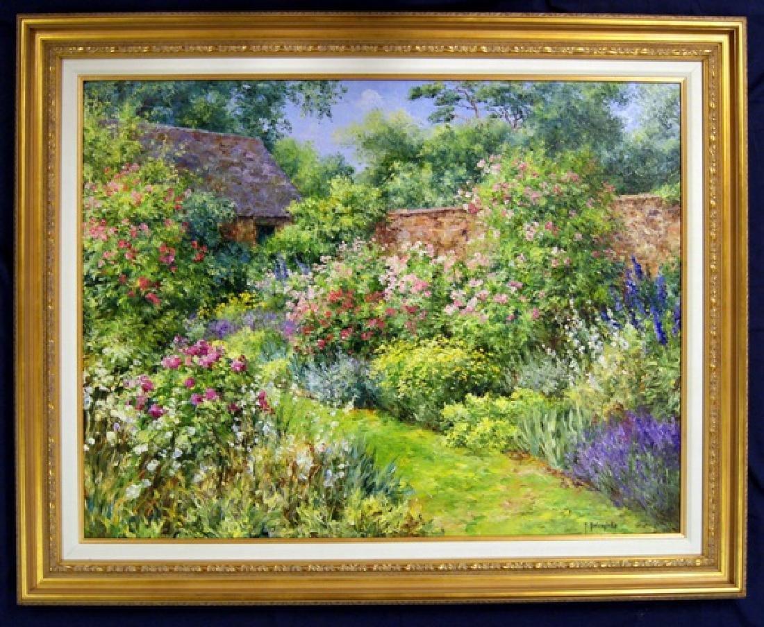 Roger Bolzonello Rose Garden Oil Painting