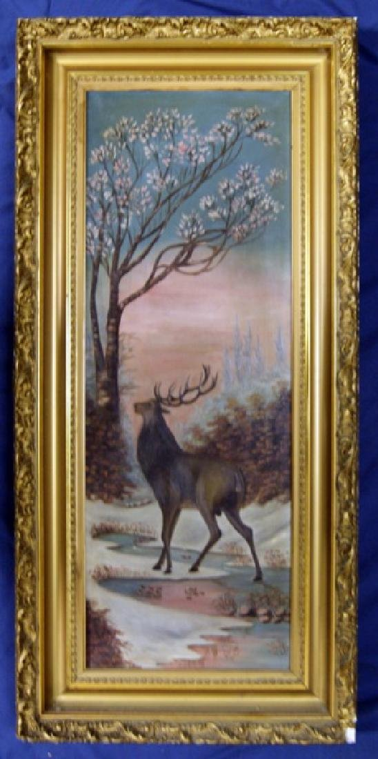 19th Century Elk Painting