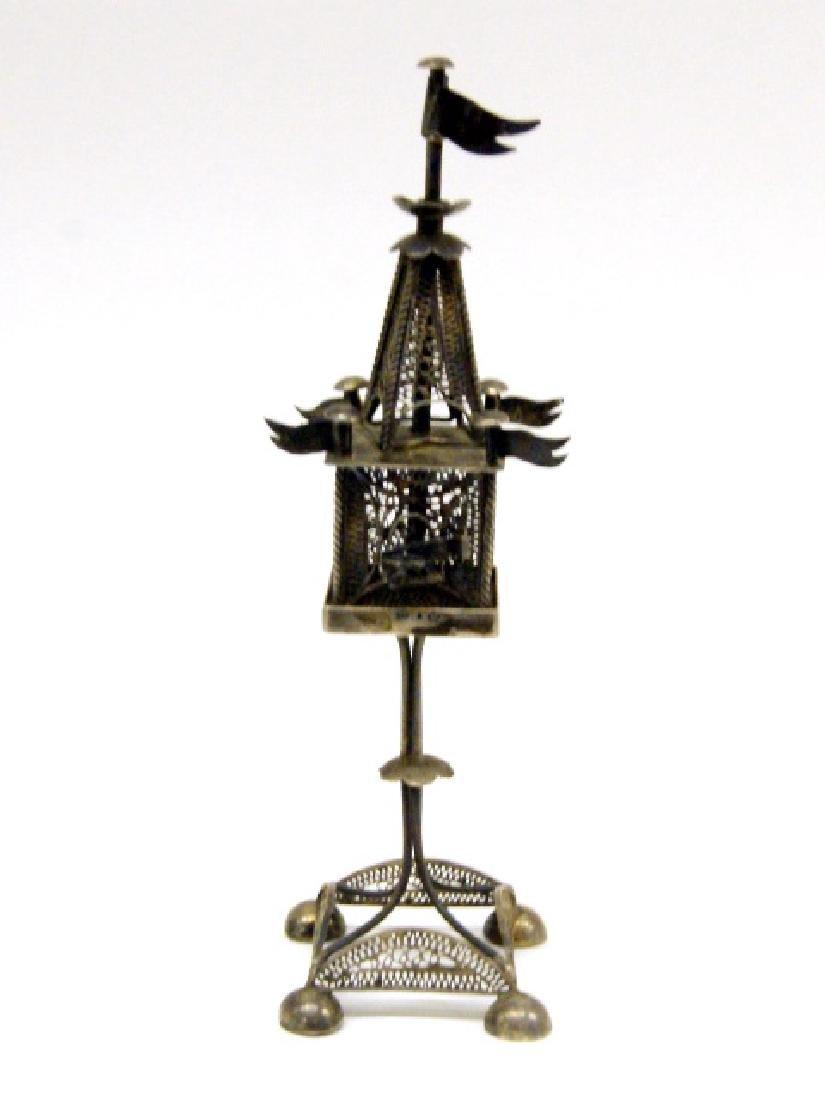 Antique Judaica Silver Spice Tower