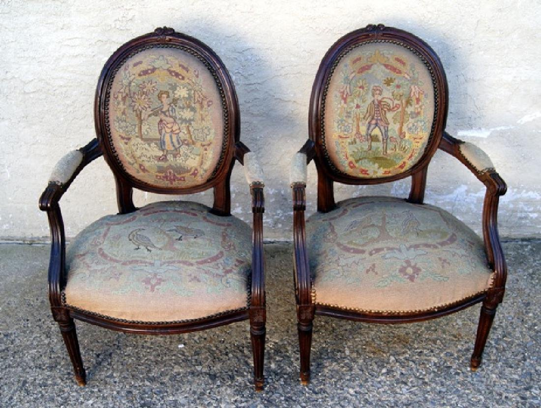 Pair Antique French Upholstered Armchairs