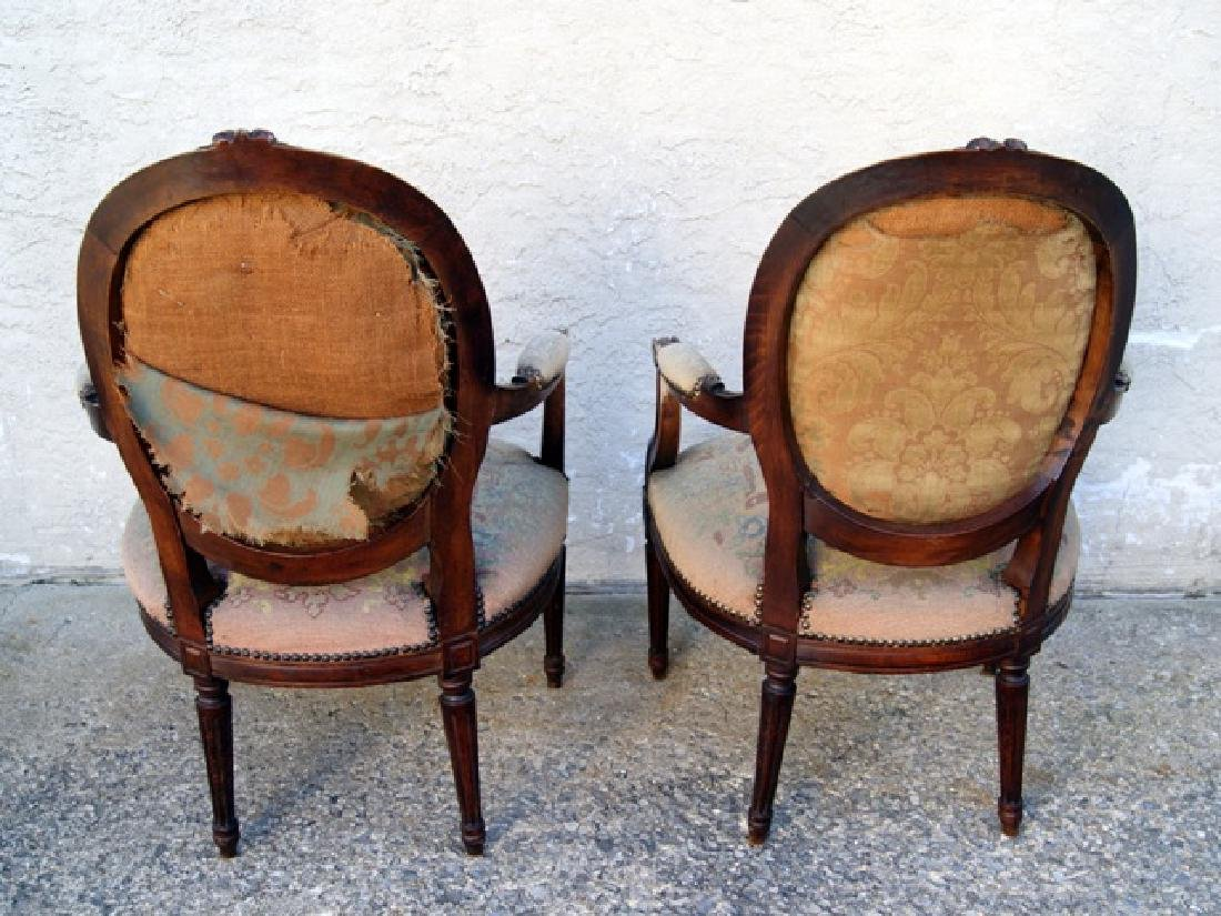 Pair Antique French Upholstered Armchairs - 2