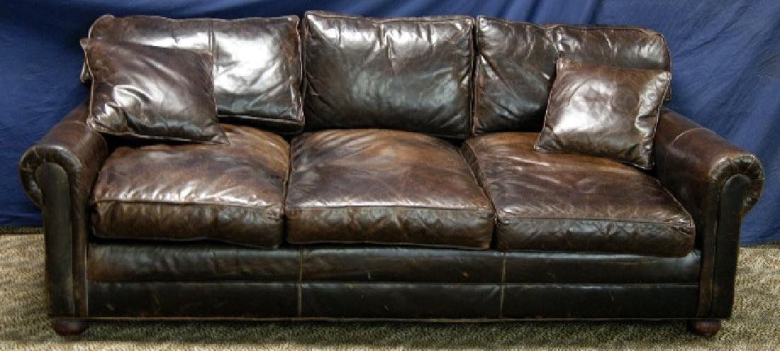 Restoration Hardware Brown Leather Sofa