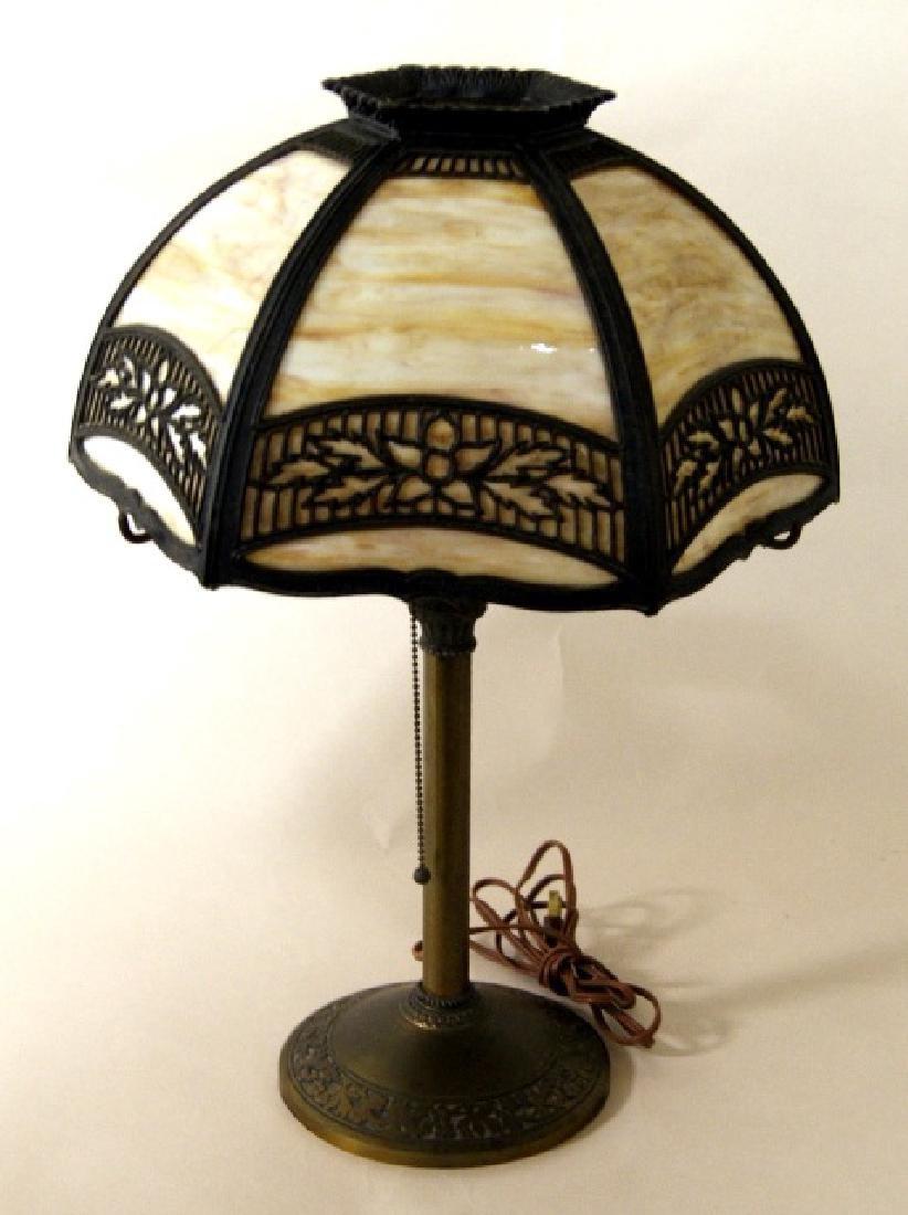 Miller Co. Slag Glass Panel Lamp