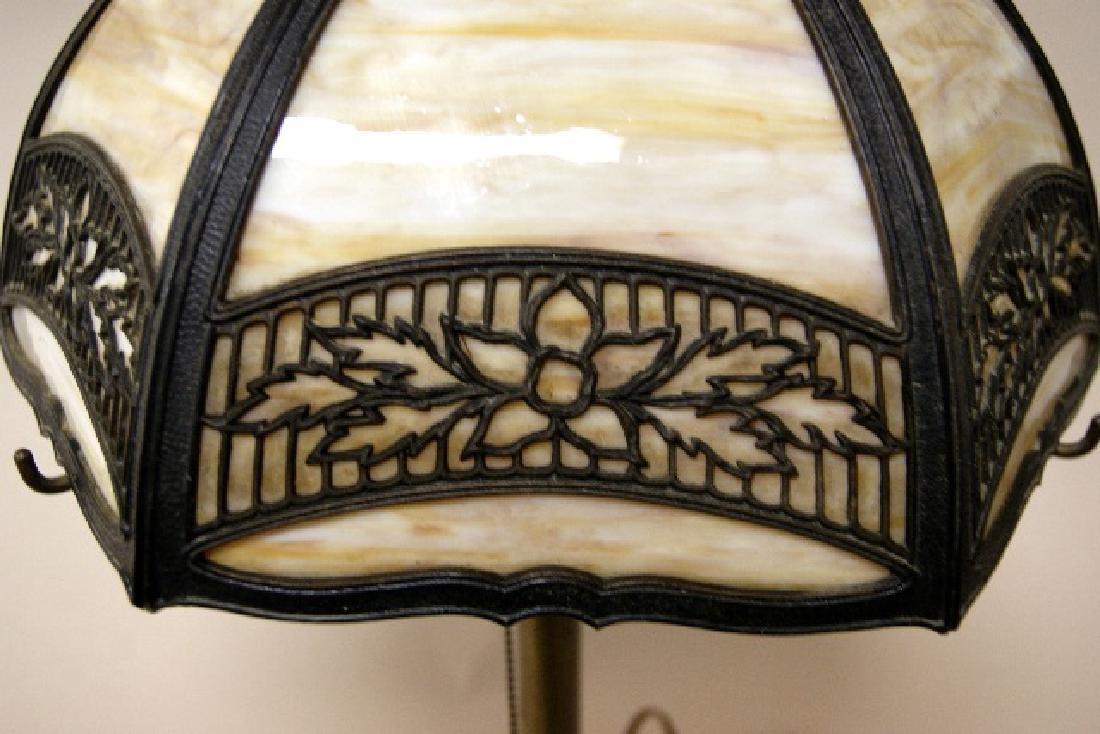 Miller Co. Slag Glass Panel Lamp - 2