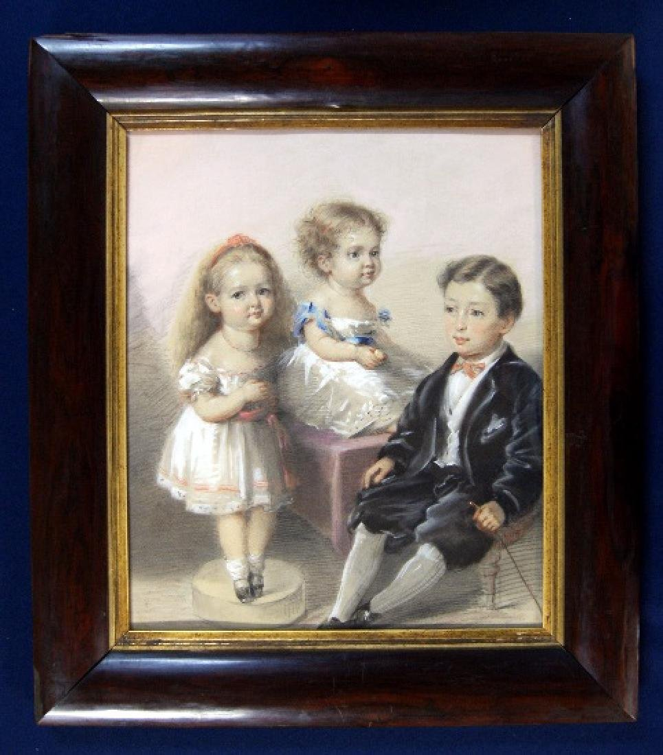 19th C. Pastel Portrait of Three Children