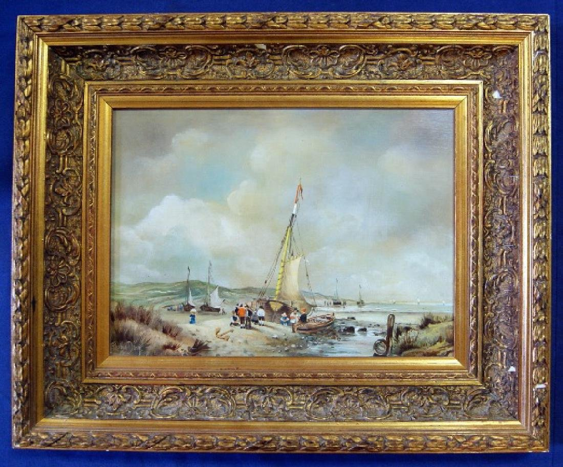 Early 20th C. Harbor Painting