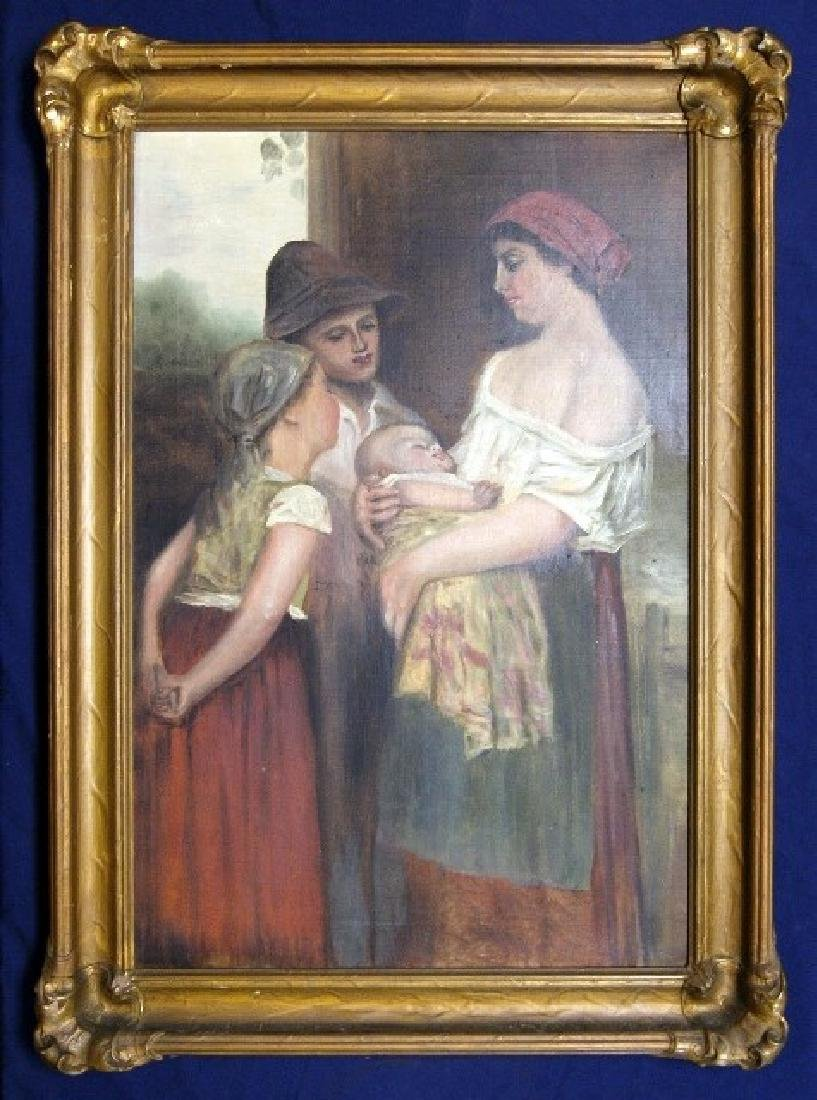 Early 20th C. Painting Mother With Children