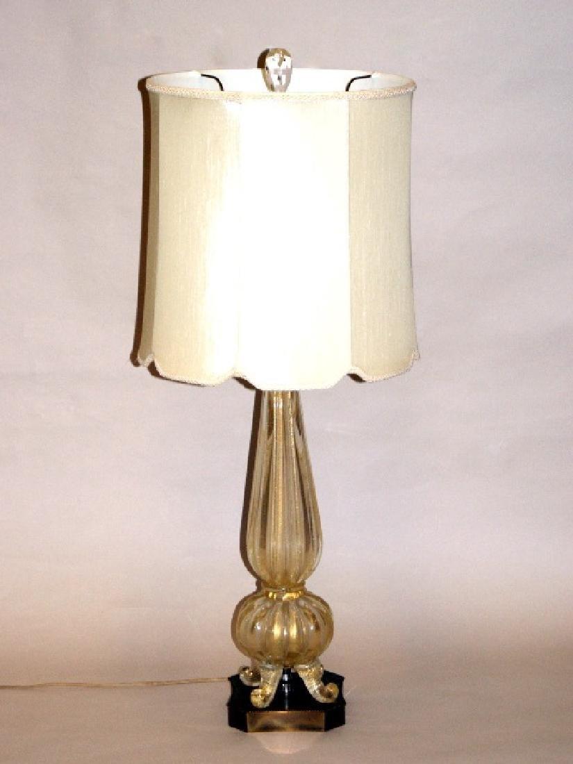 Mid-Century Gold Glass Lamp