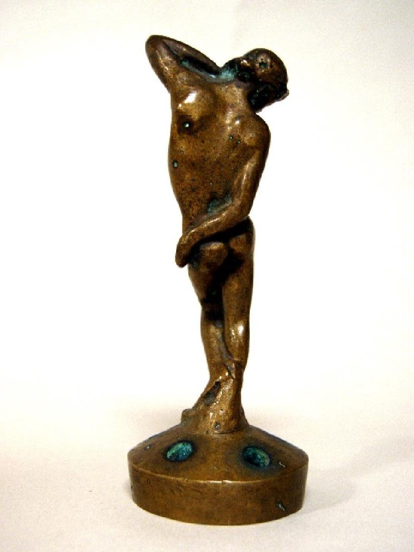 Art Deco Bronze Nude Flower Frog - 2