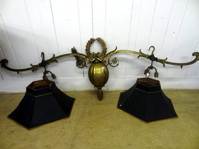Bronze Hanging  Lamp with two Toll Shades